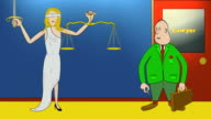 Lawyer Tips Scales of Justice with Coin - Ver 1: No Open Title video