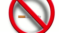No smoking sign with a real cigarette smoke and a 3d red sign falling on top video