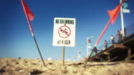No Swimming Sign on Beach video