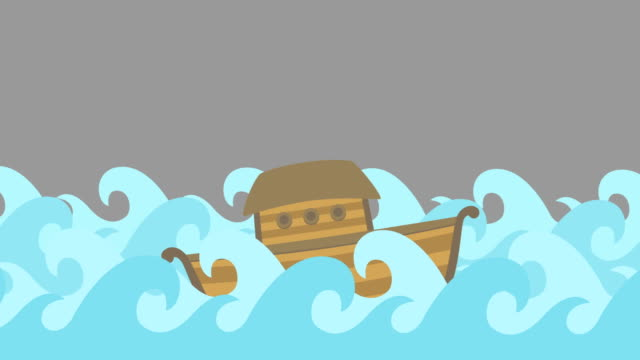 Noahs Ark Floating In The Middle Of The Sea On A Gray Sky video