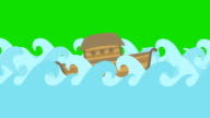 Noahs Ark Floating In The Middle Of The Sea On A Green Screen video