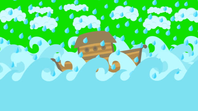 Noahs Ark Floating In The Middle Of The Sea With Cloudy Sky And Rain On A Green Screen video