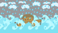 Noahs Ark Floating In The Middle Of The Sea With Cloudy Sky And Rain video