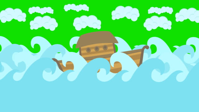 Noahs Ark Floating In The Middle Of The Sea With Cloudy Sky On A Green Screen video