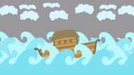 Noahs Ark Floating In The Middle Of The Sea With Cloudy Sky video