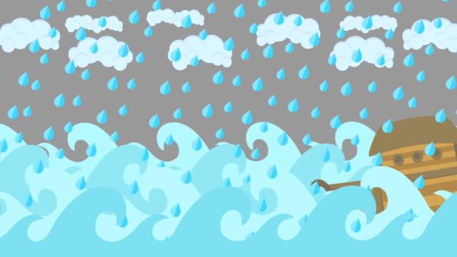 Noahs Ark Sailing In The Sea Under Rain On A Cloudy Sky video