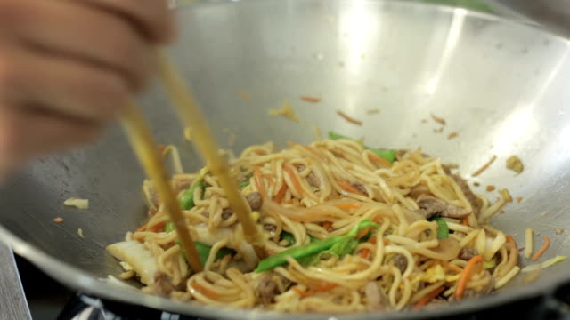 Noodles cooked in Wok video