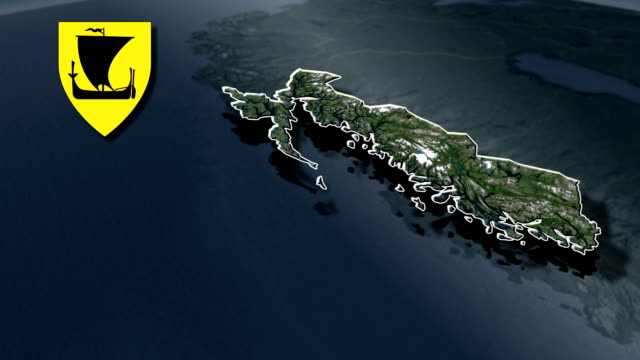 Nordland whit Coat of arms animation map video