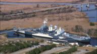 USS North Carolina - Aerial View - North Carolina,  Brunswick County,  United States video