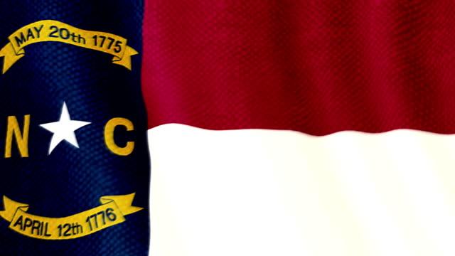 North Carolina flag waving animation video