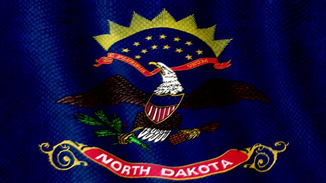 North Dakota flag waving animation video