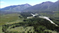North Fork Of the Flathead River  - Aerial View - Montana, Flathead County, United States video