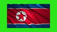 North Korea flag waving,loopable on green screen video