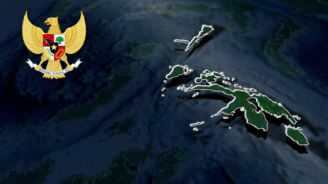 North Maluku with Coat Of Arms Animation Map video