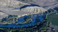 North Platte River At Sunset  - Aerial View - Wyoming, Platte County, United States video