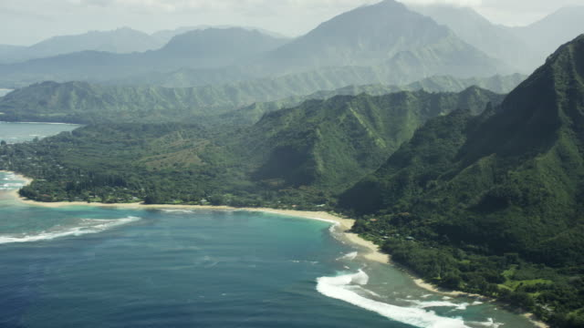North Shore Kauai Shoreline Aerial Shot video