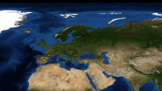 Northern Europe from space zoom video