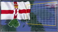 Northern Ireland flag and map animation video