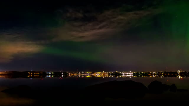 Northern lights over sea video