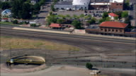 Northern Pacific Railroad Depot, Missoula, MT - Aerial View - Montana, Missoula County, United States video