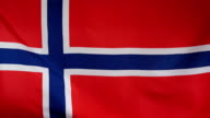 Norway Flag real fabric close up video