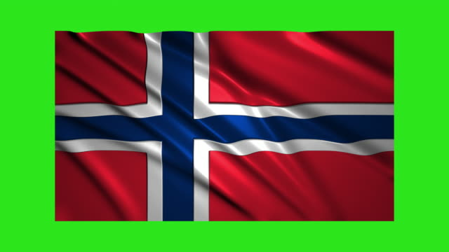 Norway flag waving,loopable on green screen video