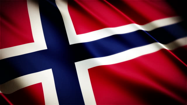 Norway realistic national flag seamless looped waving animation video