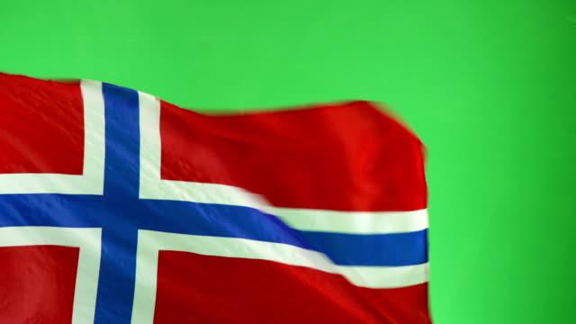 4K: Norwegain Flag on green screen, Real video, not CGI (Norway) video