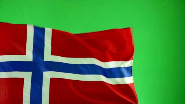 Norwegian Flag on green screen, Real video, not CGI (Norway) video