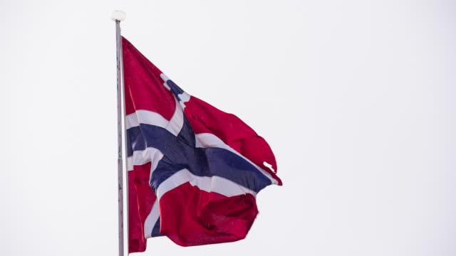 Norwegian flag waving in the wind video