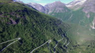 Norwegian scenic mountain road Gaularfjellet, aerial view video