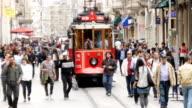 Nostalgic tramway passing through Istiklal Street video