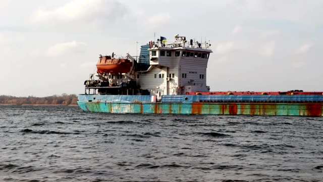 Not laden barge goes along the Dnieper River video