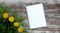 Notepad flower and wood table background video