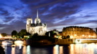Notre Dame Cathedral at dusk in Paris, France video