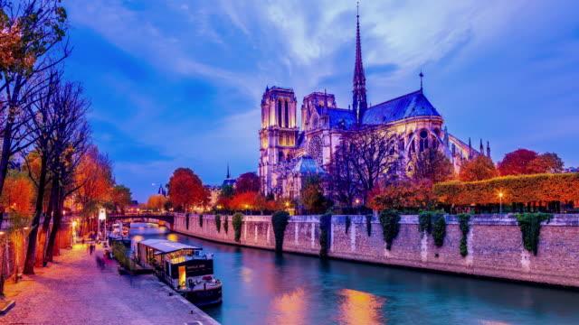 Notre Dame de Paris, France , Day to night timelapse video