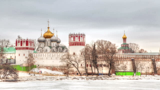 Novodevichy Convent in winter - timelapse video video
