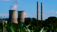 Nuclear cooling towers in corn field. video