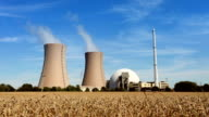 Nuclear Power Station and wheat field - time lapse video