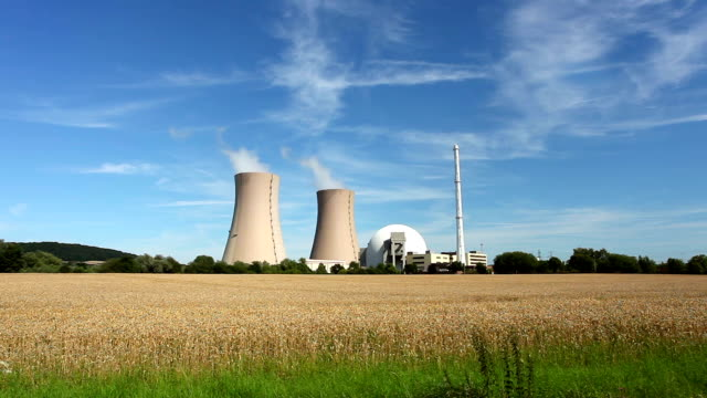 Nuclear Power Station and wheatfield - Real Time video