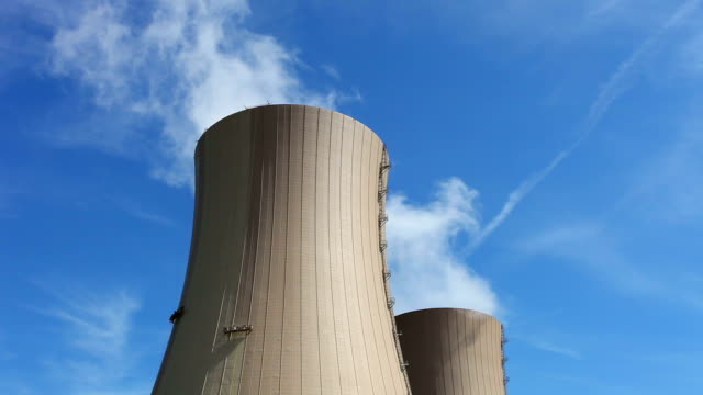 Nuclear Power Station - close up of the chimneys video