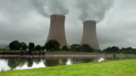 Nuclear Power Station on a rainy day video