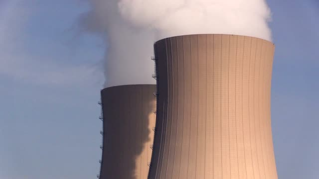 Nuclear station against sky video
