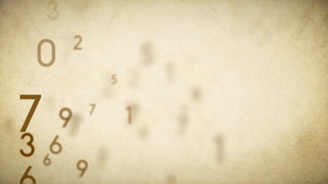 Numbers Background Loop Old Paper - Stock Video video