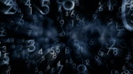 Numbers, black abstract background video