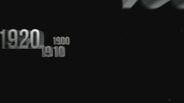 Numerals in chronological order from the past into the future video