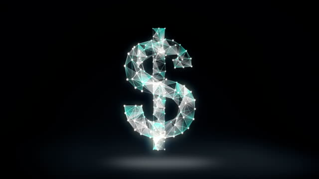 Numerous dots gather to create a Dollar currency sign, low-polygon web. video