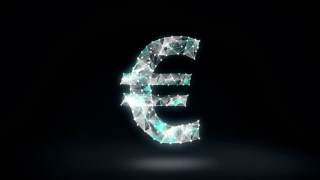 Numerous dots gather to create a Euro currency sign, low-polygon web. video
