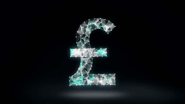 Numerous dots gather to create a Pound currency sign, low-polygon web. video