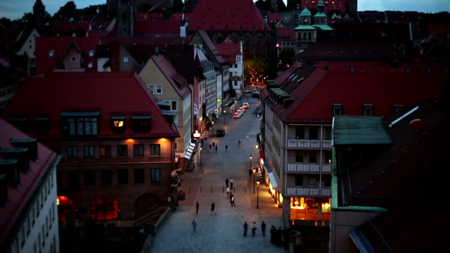 Nuremberg at night, camera pan video